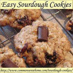 Easy Sourdough Cookies - Basic, Cherry-chocolate-oatmeal and Oatmeal-Raisin @ Common Sense Homesteading