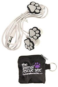 All Paws Earbuds at The Animal Rescue Site. Purchases fund bowls of food for animals in shelters waiting for homes!