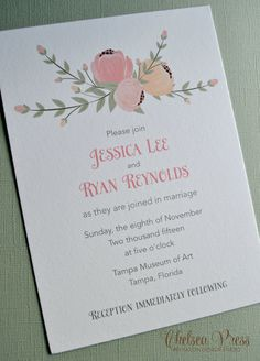 Floral PRINTED wedding invitation by ChelseaPress on Etsy