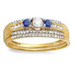 Elora 14-karat Yellow Gold 3/8-carat Round Blue Sapphire and White H-I I1-I2 Diamond Women's Three-stone B (Size 6,White Gold)