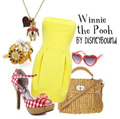 Love the yellow dress paired with the red and white checked shoes