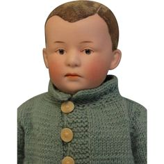 """12.5"""" Antique GEBRUDER HEUBACH c1910 POUTY DOLL Orig.Flocked from turnofthecenturyantiques on Ruby Lane"""
