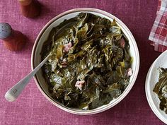 Gina's Best Collard Greens Recipe : Patrick and Gina Neely : Food Network - omit sugar Vegetable Side Dishes, Vegetable Recipes, Best Collard Greens Recipe, Food Network Recipes, Cooking Recipes, Cooking Kale, Cajun Recipes, Oven Recipes, Vegetarian Cooking