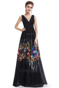A-Line/Princess V-neck Floor-length Chiffon Prom Dress