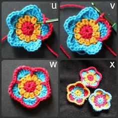 cheerymishmash: Five petalled flower pattern (UK so use translation chart) Five petalled flower pattern - Someday I may learn to crochet Five petalled flower pattern** thanks for share-- full pattern clearly explained :-). Five petalled flower pattern - U Knit Or Crochet, Learn To Crochet, Crochet Crafts, Yarn Crafts, Crochet Hooks, Crochet Projects, Crochet Motifs, Crochet Flower Patterns, Crochet Flowers