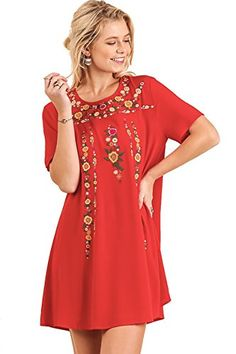 ef873fd9e902 Umgee Women s Boho Chic Floral Embroidered Short Sleeve Dress at Women s  Clothing store