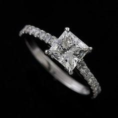 Platinum 950 Cut Down Micro Pave Diamond Princess Cut Engagement Ring Mounting
