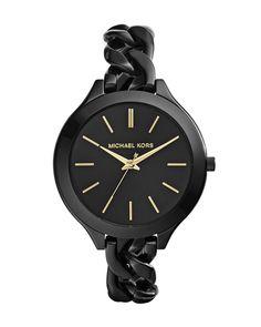 Michael Kors MId-Size Black Stainless Steel Slim Runway Three-Hand Watch