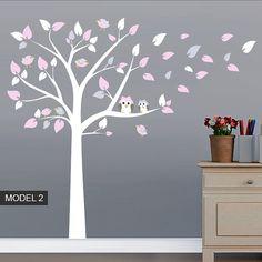 Nursery Tree Owls and Birds wall sticker for girls or boys bedroom