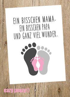 ★ ... ganz viel Wunder! ★ Postkarte ★ baby girl ★ von ★WORTSPIELE made by eazy peazy★ auf DaWanda.com