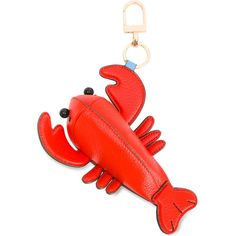 Tory Burch Lobster Keyring ($116) ❤ liked on Polyvore featuring accessories, leather key ring, tory burch and tory burch key ring