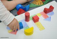 Dřěvěné kostky / Wooden shaped cubes #batole #toddler #drevenekostky #woodencubes #woodenshapedcubes #prikladani #matching #toddlerteaching Cubes, Montessori, Logos, Logo, A Logo