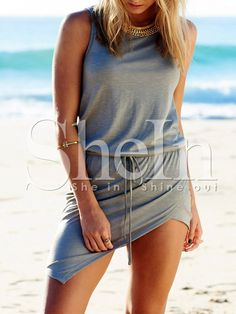 Grey+Beachy+Sleeveless+Asymmetric+Bodycon+Dress+13.19