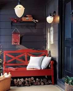 outside veranda red bench Outdoor Spaces, Outdoor Living, Outdoor Fun, Red Bench, Porch Bench, Small Front Porches, Grey Houses, White Pillows, Porch Decorating