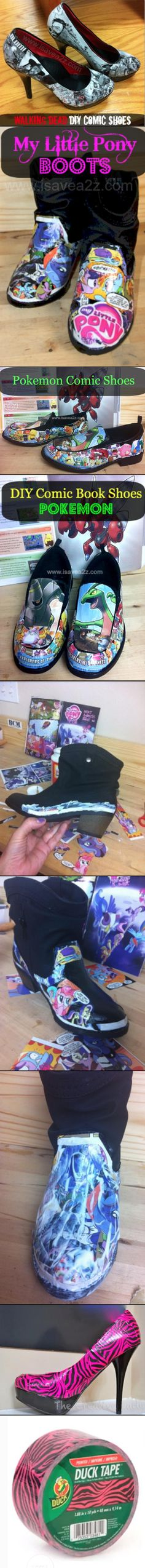 Comic Book Shoes!  We have Walking Dead, Pokemon and My Little Pony too!!!  Tutorial included!!!  Super Fun Project idea!!!