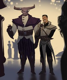 """slothquisitor:  """" guiltypleasuretrashblog:  """"Dorian finally says """"fuck it."""" and takes Bull to a party and gives the entire Magistrate heart attacks. It's the best time he has in years.  """"  I support this and their coordinating outfits.  """""""