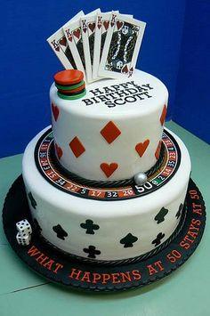 Cake, casino cakes, vegas cake, birthday party ideas for men, adult . Vegas Party, Casino Night Party, Casino Theme Parties, Parties Kids, Vegas Theme, 50th Birthday Party, Birthday Cards, Vegas Cake, Healthy Breakfast Bowl