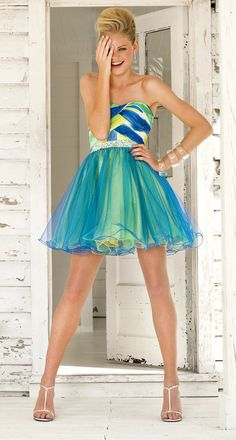 Ideas for kids!  Blue Under The Sea Chiffon & Tulle Strapless Short Dress