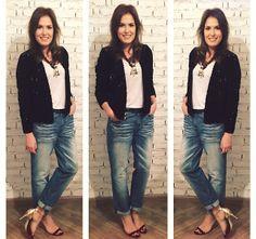 Mais uma postagem do Achados da Bia , compondo um look completinho As Marias !!! Jeans Boyfriend + Casaco em paetê Inverno As Marias !!!!!   #modait #welove  Confira !