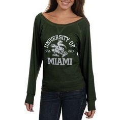 Miami Hurricanes Ladies Veruca Long Sleeve Slub T-Shirt - Green