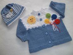 Baby Knitting Patterns, Baby Cross Stitch Patterns, Baby Boy Knitting, Baby Cardigan Knitting Pattern, Knitting For Kids, Knitting Designs, Hand Knitting, Baby Set, Crochet Home