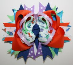 Under the Sea Sea Creatures OTT stacked bow with spikes by HugABug, $10.00