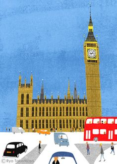 London by Ryo Takemasa Travel Illustration, Illustration Artists, Cute Illustration, Ryo Takemasa, City Poster, London Art, Naive Art, Vintage Travel Posters, Illustrations And Posters