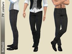 Classic and elegant, always fashion in my point of view. Your men will be always perfect with those pants. In 14 recolours. They works fine with boots. Found in TSR Category 'Sims 4 Male Everyday'