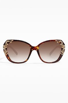 'Sicilian Baroque' Designer Inspired Oversized Sunglasses - Brown Speckle - 5447-2