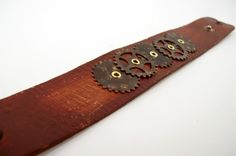 Distressed Leather Cuff with Riveted Gears | JulisJewels - Jewelry on ArtFire