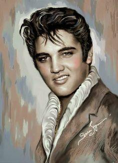 Elvis art by Sara Lynn Sanders. Very nice painting of Elvis! Celebrity Drawings, Celebrity Portraits, Elvis Presley Pictures, James Dean, Rock N Roll, Rockabilly, My Idol, Movie Stars, Fanart