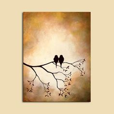 Birds in Tree Branch Large Custom Painting door ContemporaryEarthArt