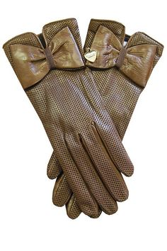 Moschino Chic Taupe Brown Leather Gloves with Bow  |  gloves
