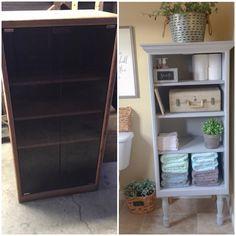 Repurposed vintage Stereo cabinet. Bathroom Linens Bathroom cabinet DIY Annie Sloan chalk paint Paris Gray