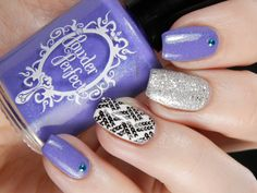 Purple and Silver Skittle ~ Powder Perfect 'Lorelei' with accent nails using Pretty Serious 'Surfing Action' on middle finger and stamping with MoYou Fashionista 02 plate in black over white base on ring finger ~ by Better Nail Day
