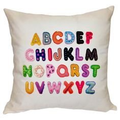 Cotton pillow with typographic motif. Product: PillowConstruction Material: Cotton cover and down fillColor: White Features: Knife edgeInsert included Dimensions: x and Care: Dry clean