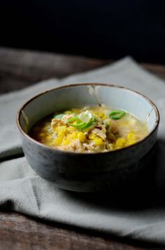 Chicken Corn Soup I - In a large stock pot cover chicken and onion with water. Cook slowly until tender, approximately 1 hour. Remove chicken, let cool and remove meat from bones. Cut meat into 1 inch pieces, discard skin and bones. Cut corn from cobs if using fresh corn.