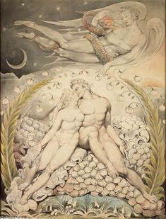 Satan Watching the Caresses of Adam and Eve watercolour by William Blake for John Milton's Paradise Lost, 1808 William Blake Paintings, William Blake Art, Milton Paradise Lost, Lost Paradise, 4 Image, La Madone, English Poets, Pen And Watercolor, Ciel