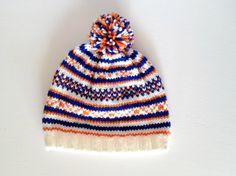 Children's, Hand Knit, Fair Isle Hat, with Pom Pom. (Blue, white & orange)