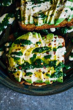 Recipe // Avocado + Herbs + Lime Juice + Tahini + Black Pepper + Red Pepper Flakes + Salt + Olive Oil + Bread