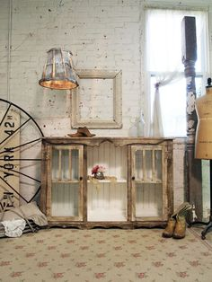 Old Painted Barn Wood Server/ Buffet - made using reclaimed windows and bead board. Inspiration.
