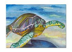 Turtle Art Print , Under the Sea Art , Sea Turtle Watercolor Print , Original Watercolor Painting , Bathroom Decor on Etsy, $7.50