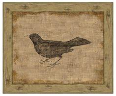 One Kings Lane - Affordable Art - Blackbird On Antique Linen