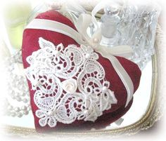 Sachet Heart Cottage Style Dark Red Damask by CharlotteStyle, $12.50