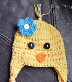 Spring Chick Hat – FREE Crochet Pattern by Amy Ramnarine of The Stitchin' Mommy. Easter Crochet Patterns, Crochet Kids Hats, Crochet Cap, Crochet Beanie, Crochet Crafts, Crochet Hooks, Crochet Projects, Free Crochet, Crocheted Hats