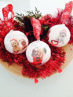 Tre Palle di Natale fatte a mano con Nome di Hand Made by Emanuela su DaWanda.com
