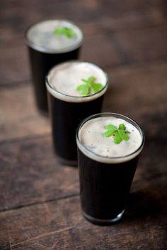 Saint Patrick's Day Entertaining: Garnish beer with tiny clovers! Design and Styling: Shannon Leahy