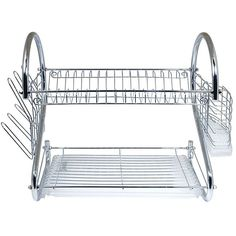Our Two-Tiered Dish Rack System features sturdy construction and space saving design Chrome plated steel and heavy duty plastic. Use the top tier for dishes, bottom tier for saucers, cups, bowls etc, side rack for glasses and flatware.