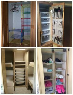 caravan organisation Some practical, helpful, and cool storage ideas for organizing RV closets Organisation En Camping, Travel Trailer Organization, Camping Organization, Closet Organization, Organization Ideas, Closet Storage, Organizing Clutter, Wardrobe Organisation, Rv Camping Tips