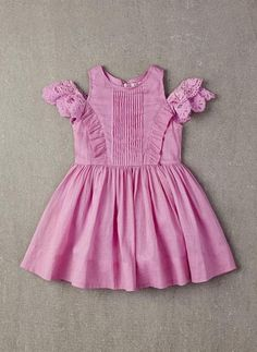 100% cotton dress with ruffles and layer sleeves in Orchid Bouquet.